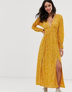 Read more about Asos design ditsy print shirred waist maxi dress with splits
