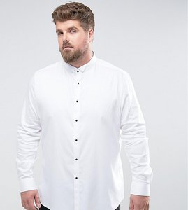 Read more about Asos plus slim sateen shirt with wing collar and contrast buttons - white