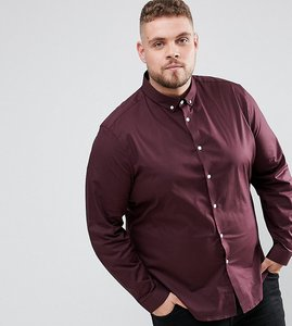 Read more about Asos plus stretch regular fit shirt in burgundy with button down collar - burgundy