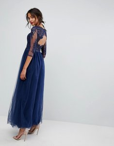 Read more about Chi chi london core high neck maxi with cut out lace back detail - navy