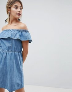 Read more about Miss selfridge frill bardot denim dress - denim