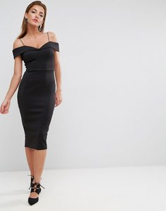Read more about Asos scuba strappy bardot pencil midi dress - black