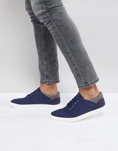 Read more about Asos lace up plimsolls in navy faux suede with warm handle cuff - navy