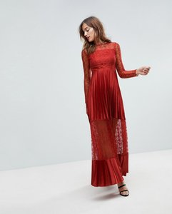 Read more about Asos satin panelled lace pleated maxi dress - rust