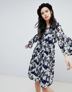 Read more about Soaked in luxury floral flock swing dress - dress blue