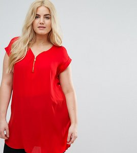Read more about New look curve red zip tunic top - red