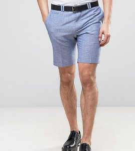 Read more about Noak skinny wedding smart shorts in linen nepp - blue