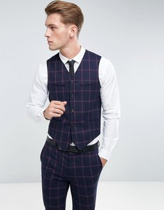 Read more about Asos super skinny suit waistcoat in navy and pink windowpane check - navy