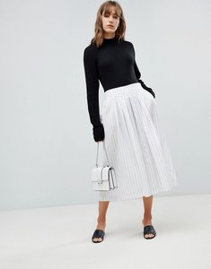 Read more about Selected femme stripe longline culottes - white