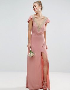 Read more about Asos wedding lace applique delicate strap maxi dress - pink
