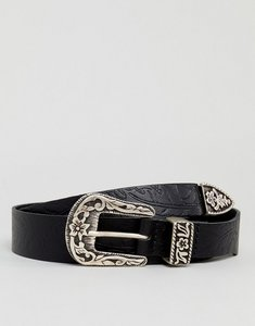 Read more about Asos slim leather western belt with floral emboss - black