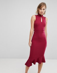 Read more about Silver bloom open back midi dress - raspberry