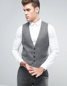 Read more about Asos slim suit waistcoat in grey texture - grey