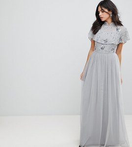 Read more about Frock and frill premium embellished top high neck maxi dress - grey silver