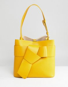Read more about French connection knotted bucket bag - mustard seed