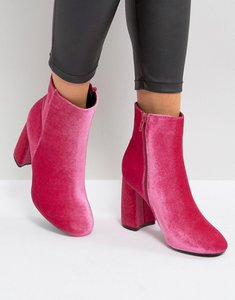 Read more about Truffle collection curved heel boot - pink velvet