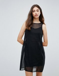 Read more about Pieces eila mesh overlay dress - black