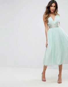 Read more about Asos premium tulle midi prom dress with embellished ribbon ties - mint