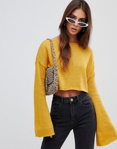 Read more about Missguided crop flare sleeve jumper - mustard