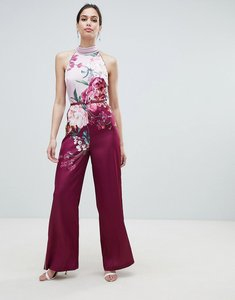 Read more about Ted baker halterneck jumpsuit in serenity floral print - maroon