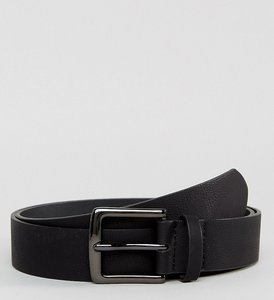 Read more about Asos plus wide belt in black pebble grain faux leather and gunmetal buckle - black