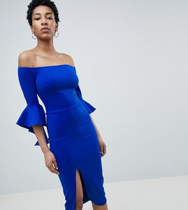 Read more about True violet tall bardot pencil dress with extreme sleeve detail - electric blue