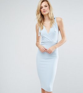 Read more about Oh my love tall wrap midi dress with strap back - dusky blue