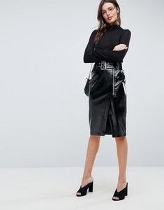 Read more about Asos vinyl pencil skirt with belt detail - black