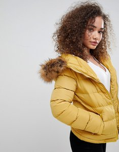Read more about Parisian padded jacket with faux fur trim - mustard
