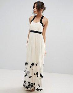 Read more about Little mistress petal applique maxi dress - beige