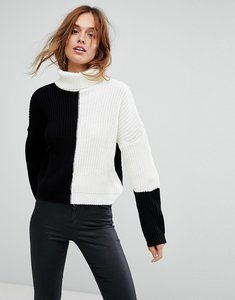 Read more about Missguided colour block high neck jumper - multi