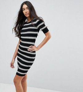 Read more about New look tall striped knit dress - black pattern