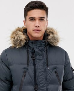 Read more about Brave soul puffer parka jacket with hood - charcoal