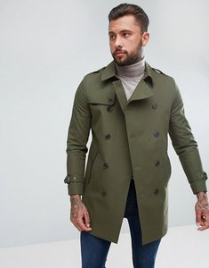 Read more about Asos shower resistant double breasted trench in khaki - khaki