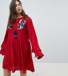 Read more about Glamorous curve smock dress with tiered sleeve and embroidery - burnt red