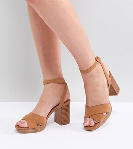 Read more about Faith wide fit stacked heeled sandals - tan