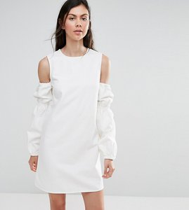 Read more about Asos tall denim shift dress in white with puff sleeve and cold shoulder - white