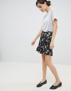 Read more about Oasis floral print frill front mini skirt - multi blue
