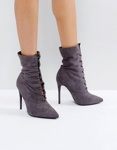 Read more about Public desire grey spectrum paperbag lace up ankle boots - slate grey