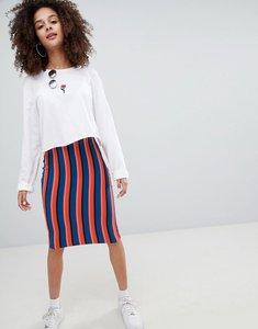 Read more about Bershka bright striped midi skirt in multi - multi