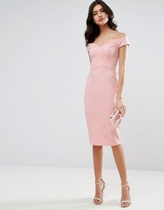 Read more about Asos lace sweetheart bardot midi bodycon dress - nude