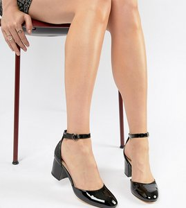 Read more about London rebel mid block heeled shoes - black patent
