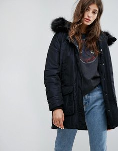Read more about Converse parka with faux fur hood - black