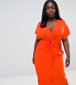 Read more about Asos design curve twist midi dress with kimono sleeve - red