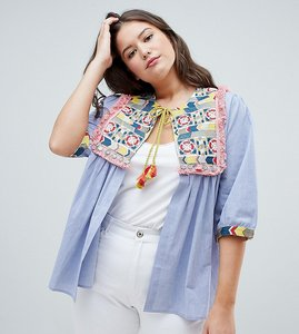 Read more about Glamorous curve bed jacket with embroidered panel and tassle ties in chambray - blue multi