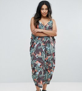 Read more about Asos curve drape hareem maxi dress in palm print - multi