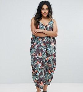 Read more about Asos curve drape hareem maxi dress in palm print - multi