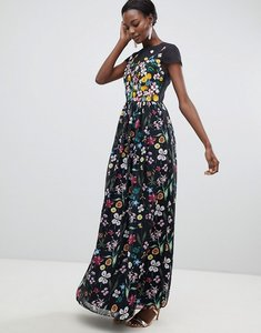 Read more about Ted baker embroidered floral mariz maxi dress - black