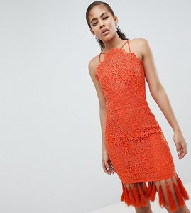 Read more about Chi chi london tall lace detail pencil midi dress with v back - orange