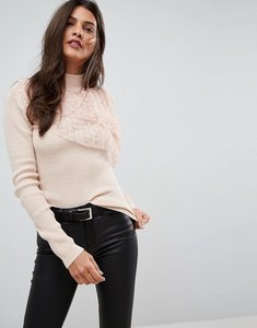 Read more about Asos jumper with pleated lace ruffle - pink
